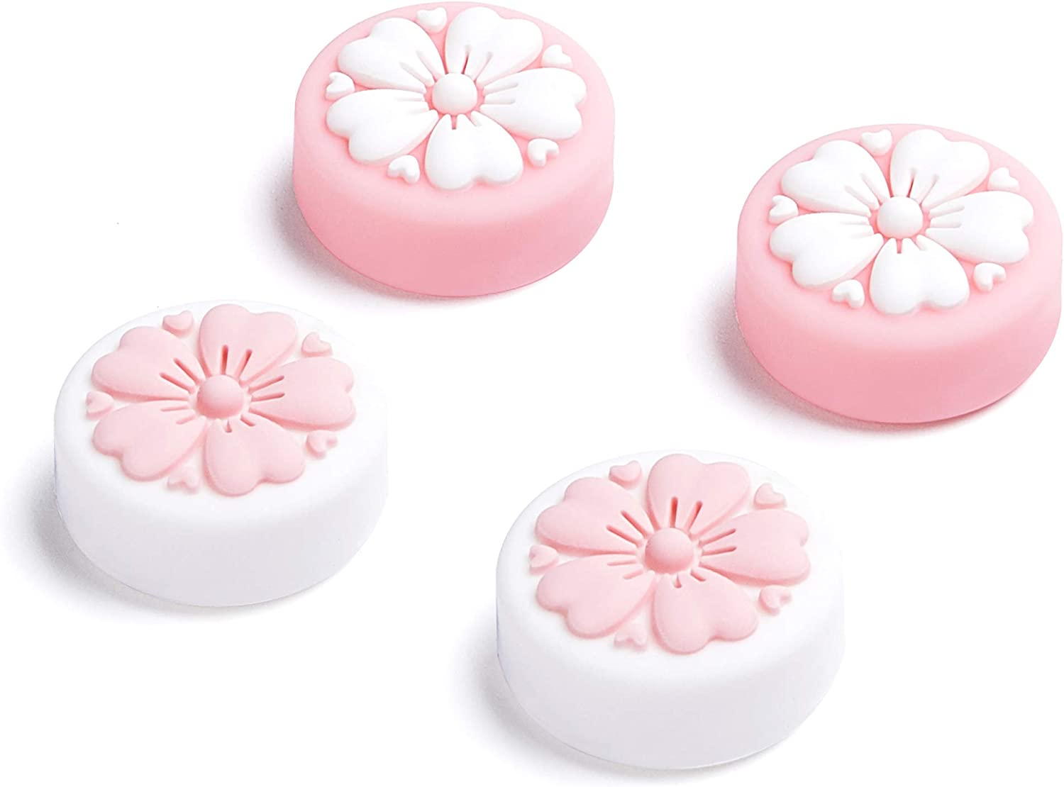 LeyuSmart New Upgrade Sakura Flower Thumb Grip Compatible with Nintendo Switch & Lite, Joystick Thumb Cap, Silicone Thumb Stick Cover Skin for Joy-Con Controller (Pink&White)