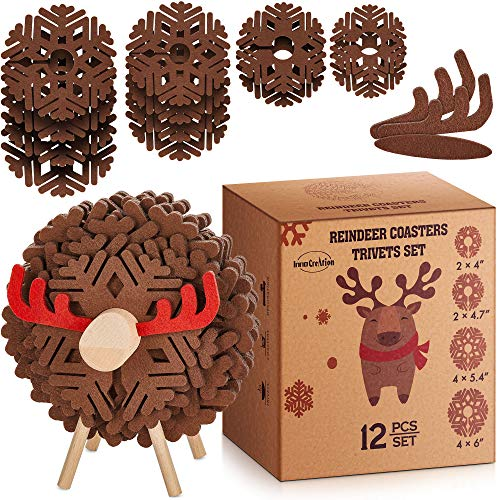 Decorative Coaster and Trivet Set of 12 in Reindeer Shaped Holder | Table Centerpiece for Cabin Lodge Décor | Hostess, Housewarming and Novelty Christmas Gift for Him or Her | Kitchen Counter Accent