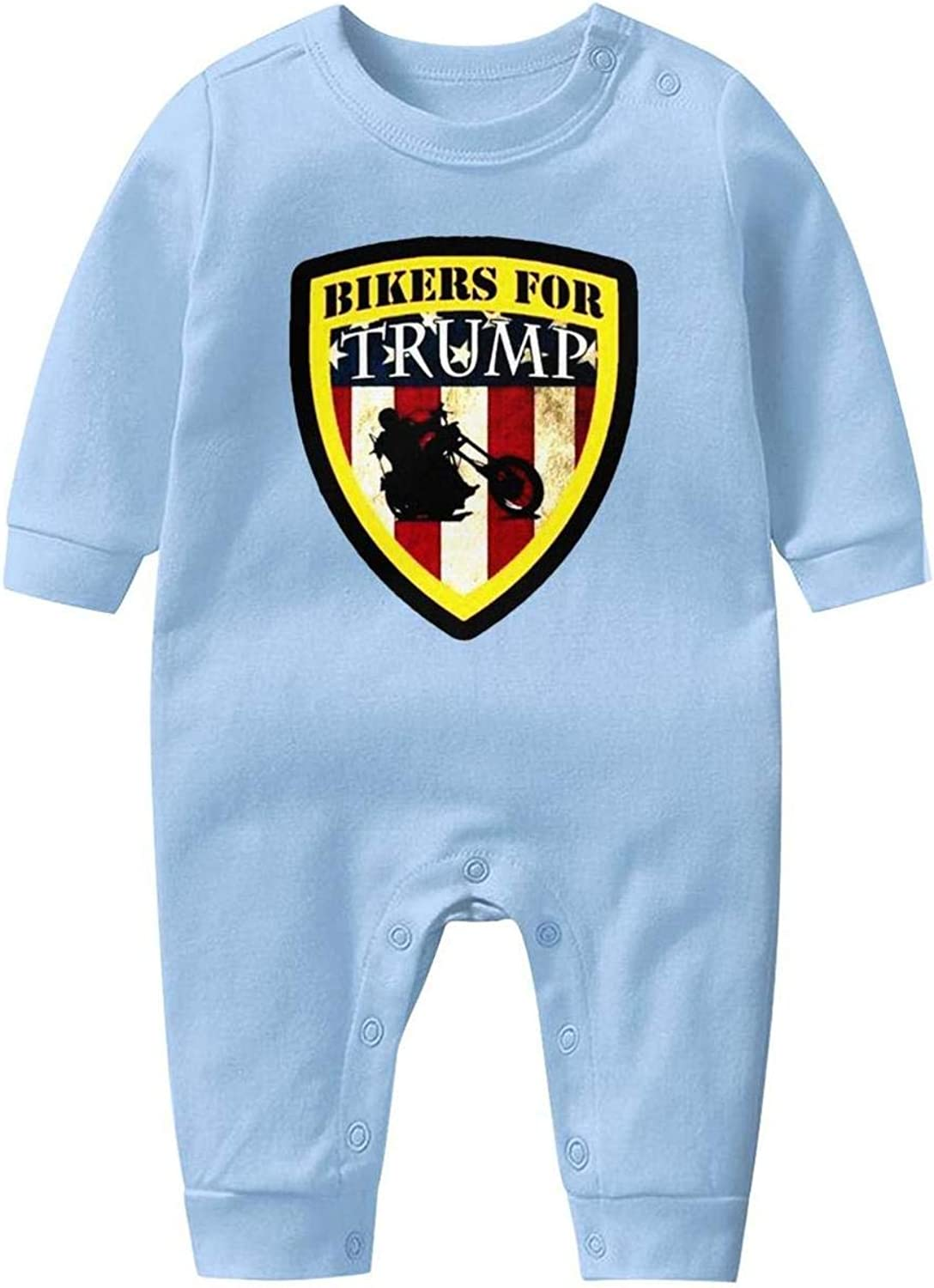 kanidjkd Bikers for Trump 2020 Baby Boys Girls Long Sleeve Baby Onesie Baby Romper