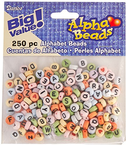 Darice Acrylic Round-Assorted Colors with Black Letters Alphabet Beads]()