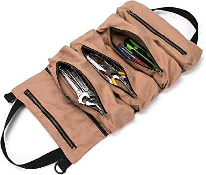 Business. Handmade Leather Roll Tools Bag 10 Waterproof Pockets Tool Case Tool Roll  Gifts ideas for Corporate