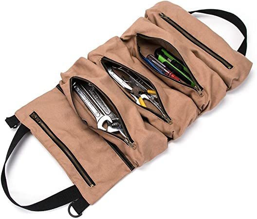 Tough Canvas Tool Roll Up Compact Organiser Bag Carry Case 12 15 Pocket Storage