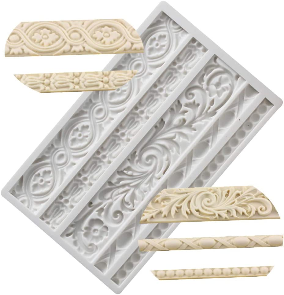 Neepanda DIY Baroque Scroll Relief Cake Border Silicone Molds, Baroque Style Curlicues Scroll Lace Fondant Silicone Mold, European Frame Cake Decorating Tools, Relief Flower Lace Mould Mat(Gray)