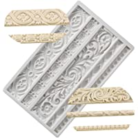 Neepanda DIY Baroque Scroll Relief Cake Border Silicone Molds, European Frame Cake Decorating Tools,Relief Flower Lace Mould Mat,Baking Chocolate Gumpaste Fondant Brim Mould Fimo Clay Mold Kitchen Baking Tool