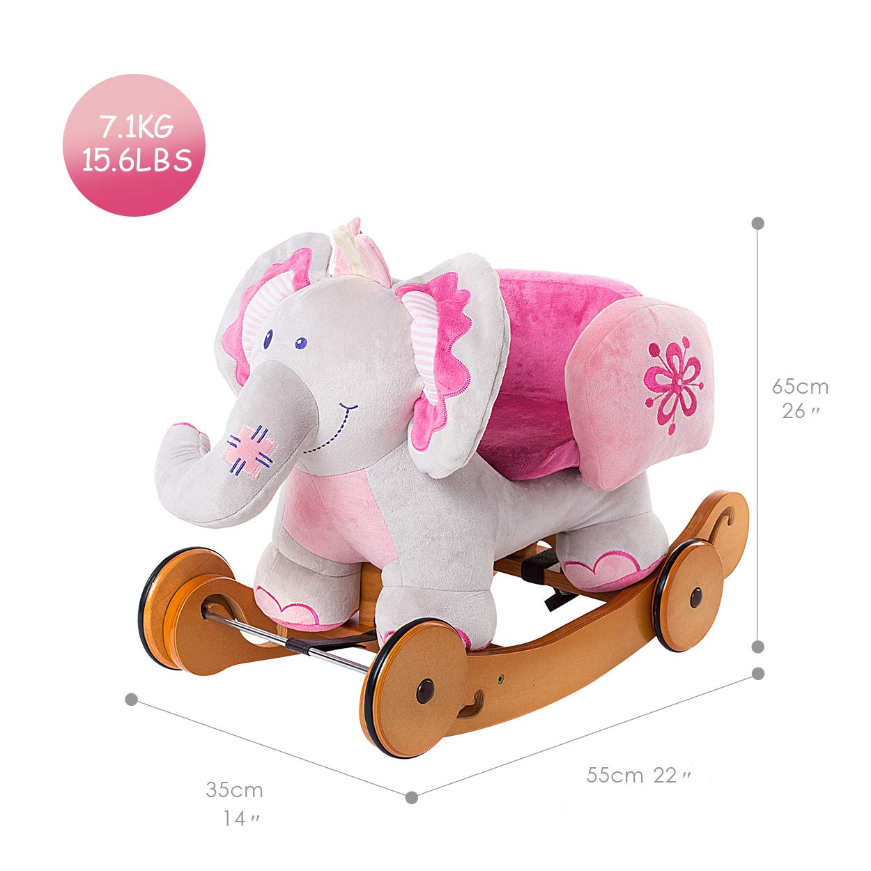 - Padded Yellow Giraffe with Sound Paper 6-36 Months Hessie Modern Plush Rocking Horse with Soft Cute Stuffed Animal Indoor Ride On Toys Rockers with Wheels for Toddlers Kids Little Boys /& Girls