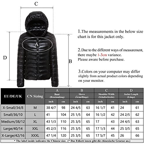 Jacket with Ultralight Black Packable Hood Women's CHICK ab Down Puffer Winter CHERRY nC0w8Tx7qn