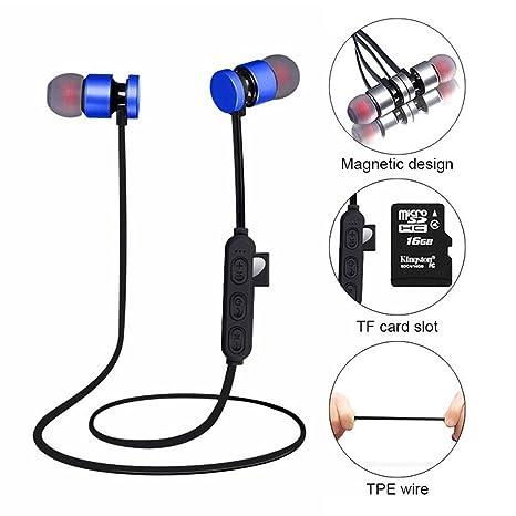 KOBWA Auriculares Inalámbricos Bluetooth,Auriculares Ligeros de Oreja Magnética Resistente Agua Auriculares de Apoyo Micro
