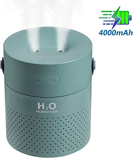 DCMEKA Cordless Dual Mist Humidifier Travel Portable Cool Mist Humdifier Small Personal Humidifer 2000mAh Regargeable Ultrasonic Humidifier for