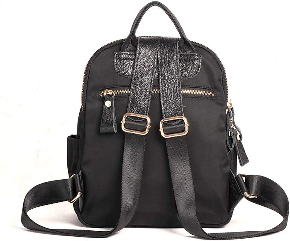 SLH Three-Layer Anti-Theft Backpack Shoulder Bag Female Embroidery National Wind Backpack Color : Black, Size : 302010cm