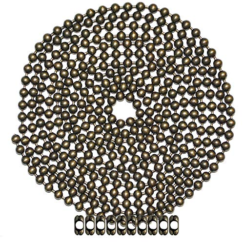 10 Foot Length Ball Chain, Number 13 Size, Medieval Brass, 10 Matching B Couplings