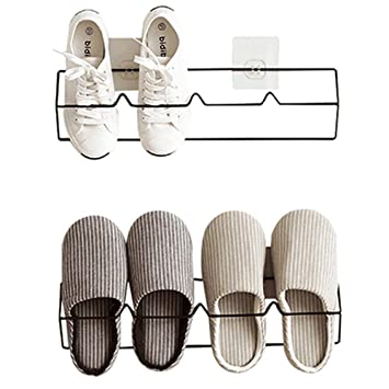 caf99bbc74d41 Esdella Shoes Rack Organizer Mounted Wall Storage Shelf Shoe Holder Keeps  Any Shoes Off The Floor (Iron(Set of 2))