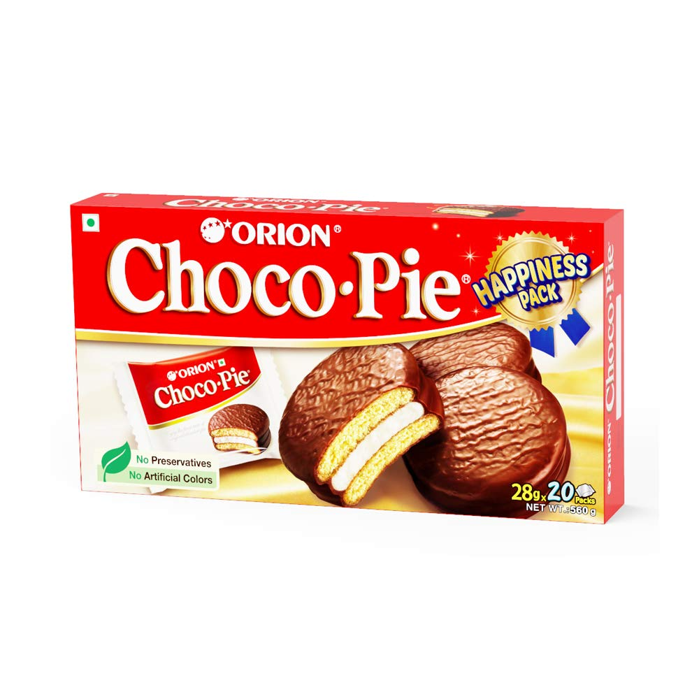 ORION Choco Pie - Chocolate Coated Soft Biscuit - Happiness Pack, 2 X 560 g