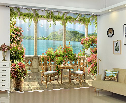LB European Garden by Lake Mountain 3D Window Curtain Drapes by, Summer Scenery Scenic Living Room Curtain, Machine Washable Window Treatment Panels, 84x63 Inches (2 Panels Size), Green