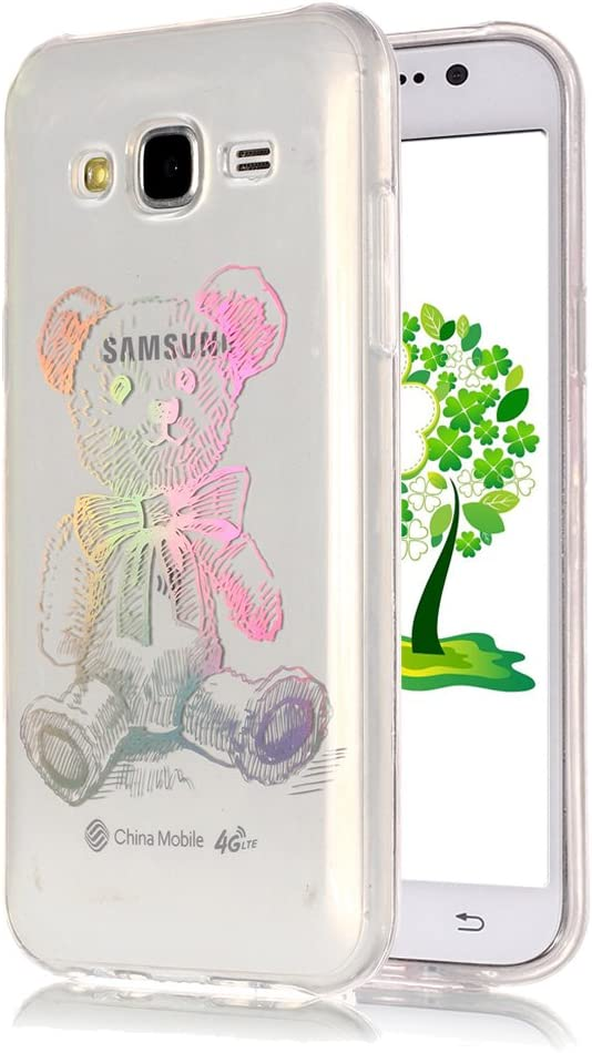 Yunbaoz Funda Transparente para Samsung Galaxy J5 2015, Láser Colorido Carcasa Funda Gradiente Patrón Multicolor Ligero Samsung Galaxy J5 2015 Transparent Case - Láser Bear