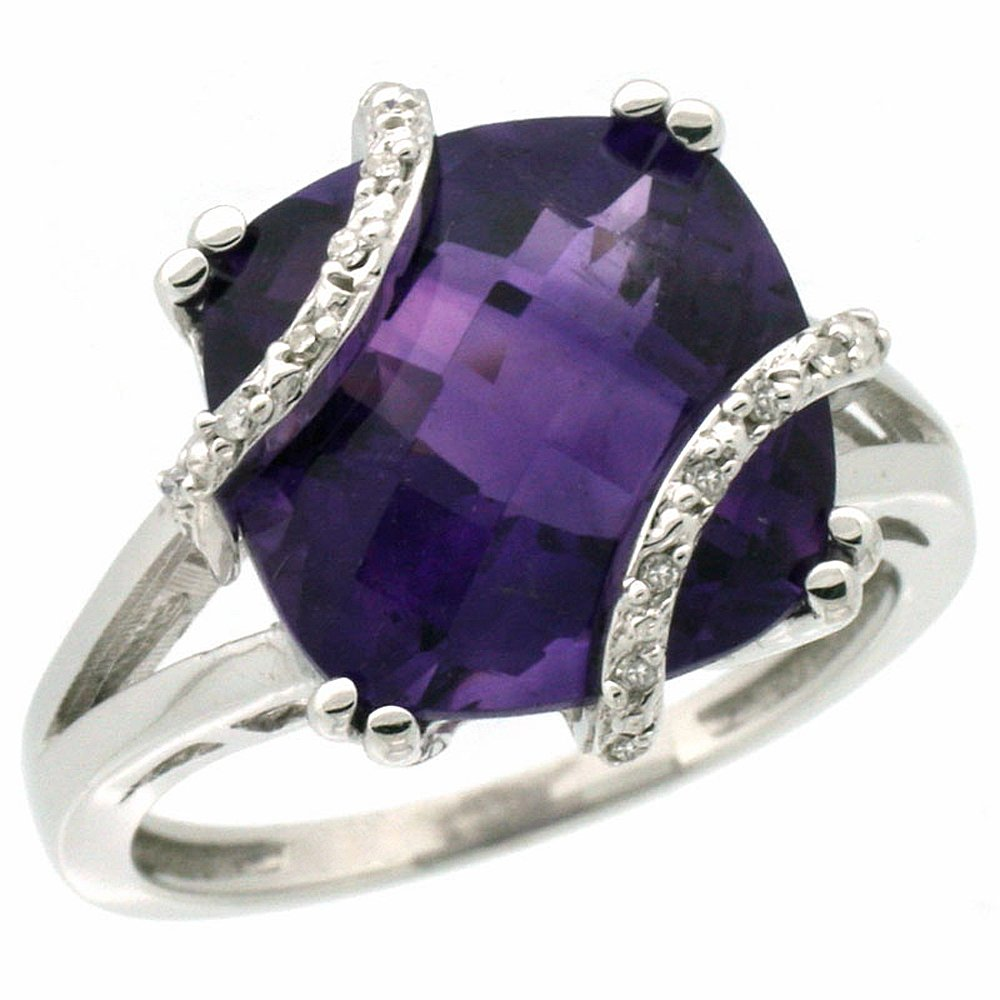 10k White Gold Natural Amethyst Ring Cushion-cut 12x12mm Diamond Accent, size 6