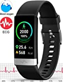 MorePro Blood Oxygen SpO2 Heart Rate Monitor Blood Pressure Fitness Activity Tracker with Low O2 Reminder, IP68…
