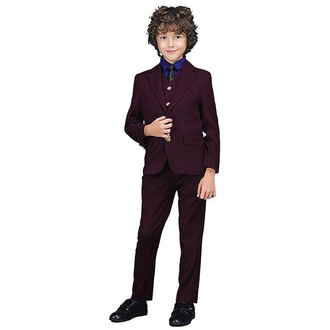 6bb65a110 Yanlu Boys Suits Plaid Formal Kids Vest Suit Set With Blazer And ...