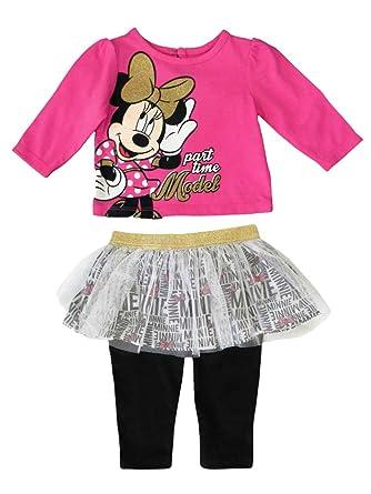 53f9bd8bb7216 Disney Infant Girl Minnie Part Time Model Shirt Tutu Leggings 2 PC Set NB  Pink