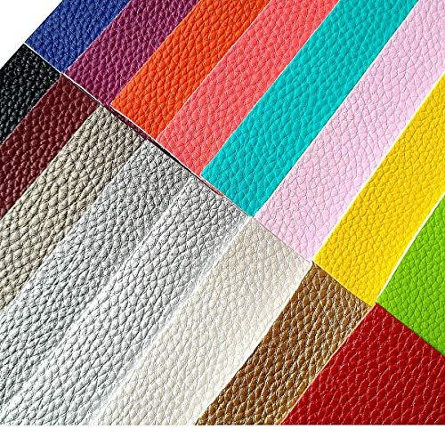 [해외]AOUXSEEM Litchi Pattern Faux Leather Sheets for Earrings Bows Jewelry Making PU Solid Color Fabric【A4 Size】 (Pattern D16 Colors) / AOUXSEEM Litchi Pattern Faux Leather Sheets for Earrings Bows Jewelry Making, PU Solid Color Fabri...