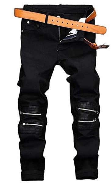 Huixin Pantalones Vaqueros De Mezclilla Algodón Negro ...