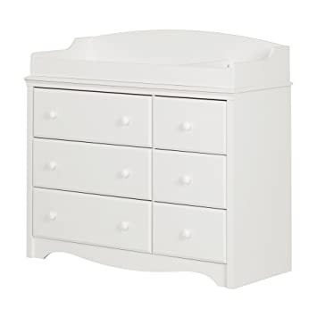 south shore furniture angel changing table with 6 drawers pure white