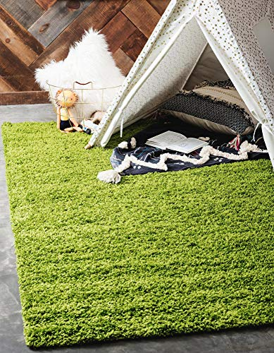 Unique Loom Solo Solid Shag Collection Modern Plush Grass Green Area Rug (8' 0 x 10' 0) (Rug Small Green)