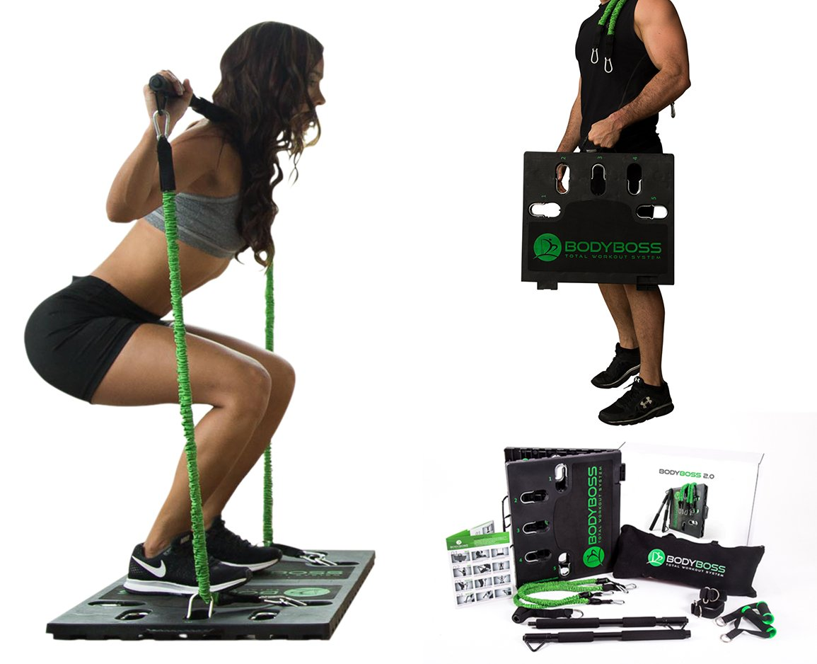 BodyBoss Home Gym 2.0 – Full Portable Gym Home Workout Package 1 Set of Resistance Bands – Collapsible Resistance Bar, Handles – Full Body Workouts for Home, Travel or Outside