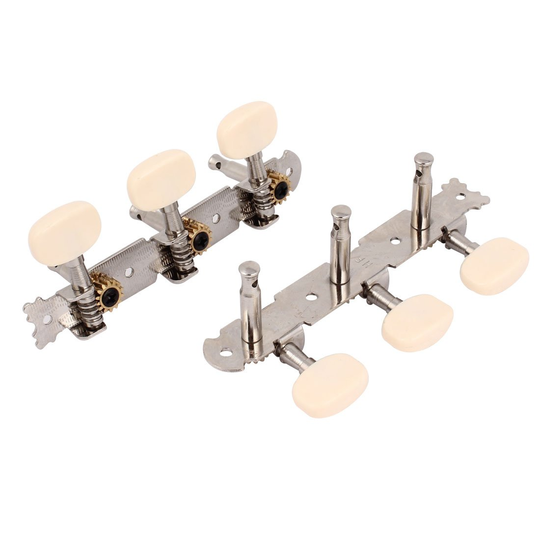Machine Head Guitar Tuner Tuning Keys Pegs 2pcs Silver Tone Beige