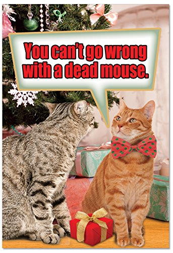 (12 'Dead Mouse' Boxed Christmas Cards with Envelopes 4.63 x 6.75 inch, Hilarious Kitty Cat Holiday Notes, Humorous Festive Kittens Christmas Cards, Animal-Themed Christmas Stationery B2548XSG)