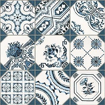 Vintage Fliesen Weiss Blau Patchwork Bodenfliese Bad Retiro 31 6x31