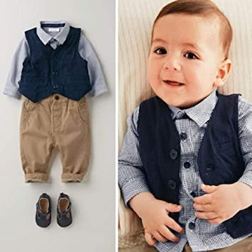 14c24230b07b04 Ymgot ベビー 男の子 フォーマル スーツ 子供 紳士服 3点セット 新生児 幼児 出産祝い (