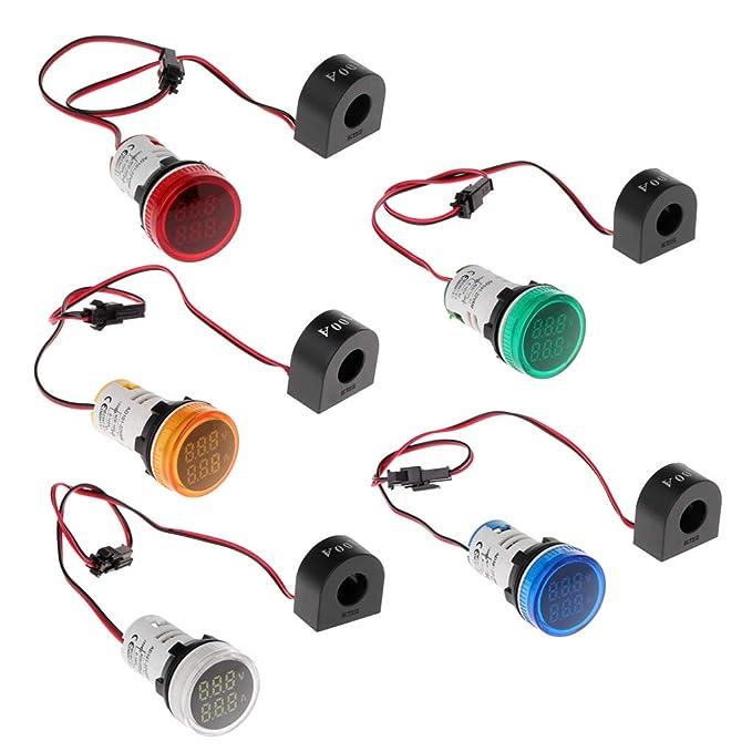 22mm CA 50-500V 0-100A Voltímetro Amperímetro LED Pantalla digital ...