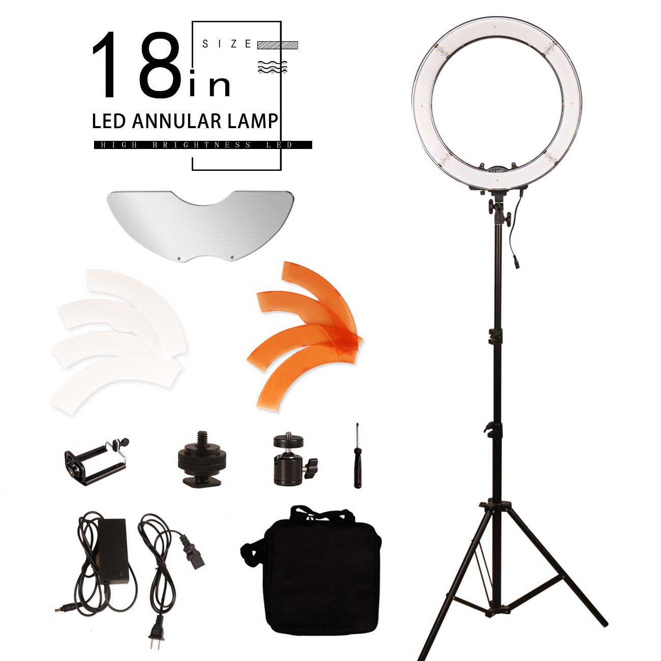 BYWLWLMY Ddjustable 18 Inch 240 Led Ring Light with Stand and Mirror for Makeup Lights,Video Shooting,Product life Shooting,Live Beauty Lights by BYWLWLMY