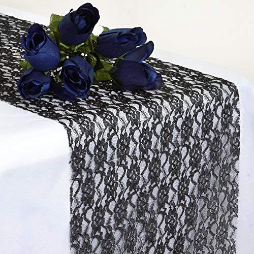 Paquete de 10 Camino de Mesa de Encaje para Evento Boda Fiesta Matrimonio decoracion Vintage | Negro