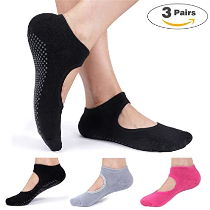 MsFeng Womens Yoga Barre Socks Non Slip Skid for Barre Pilates Ballet 3 Pairs Cotton Socks