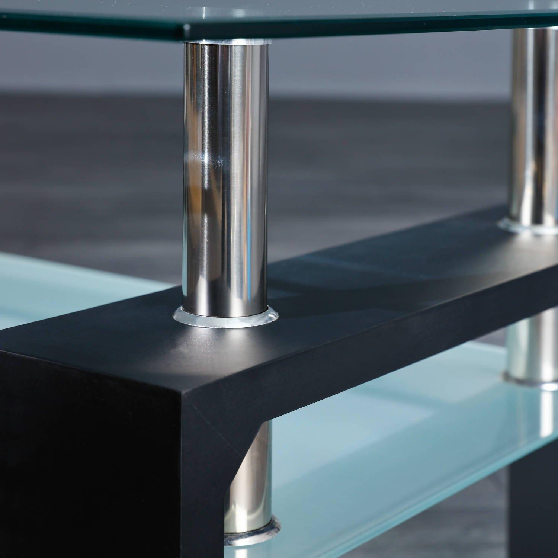 Inter Link 50100045 Couchtisch Glas Wohnzimmertisch Wohnzimmer Tisch  Beistelltisch Schwarz Glas NEU: Amazon.de: Küche U0026 Haushalt