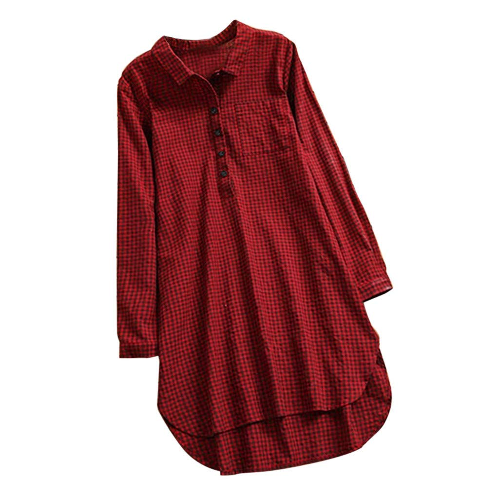 Franterd Women Solid Blouse Casual Lattice Button Stand Collar Long Sleeve Loose Tunic Tops T Shirt Asymmetry Hem by Franterd