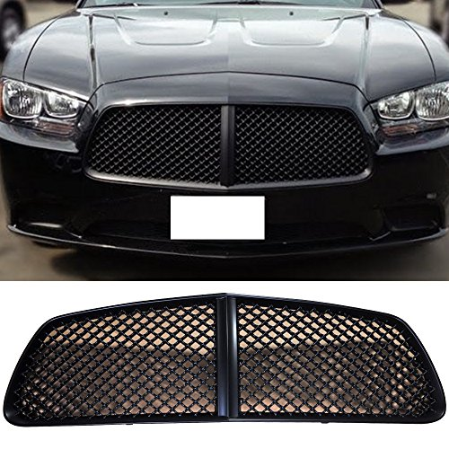 Grille Fits 2011-2014 Dodge Charger | B Style ABS Black Front Bumper Hood Grill by IKON MOTORSPORTS | 2012 2013