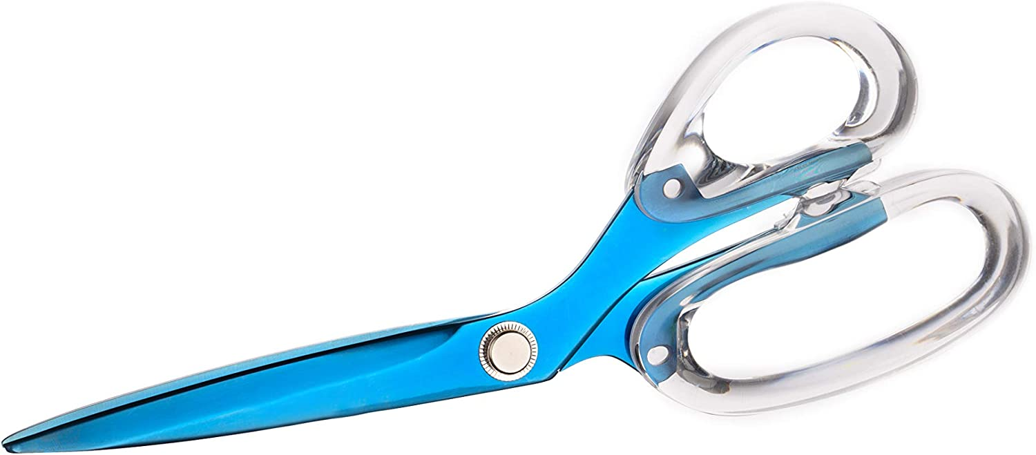 "E&O Blue Stainless Steel Acrylic Scissors 8.9"" Modern Office Desk Accessory for Office and Stationery…"