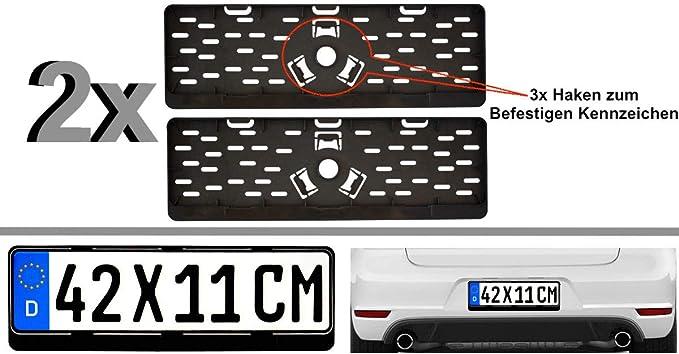 2x Kurz Kurze Kennzeichenhalter Nummernschildhalter 42 X 11 Cm 420 X 110 Mm Für Kurze Kennzeichen Im Format 420 X 110 Mm Material Bruchfester Abs Kunststoff Schwarz Unlackiert Auto