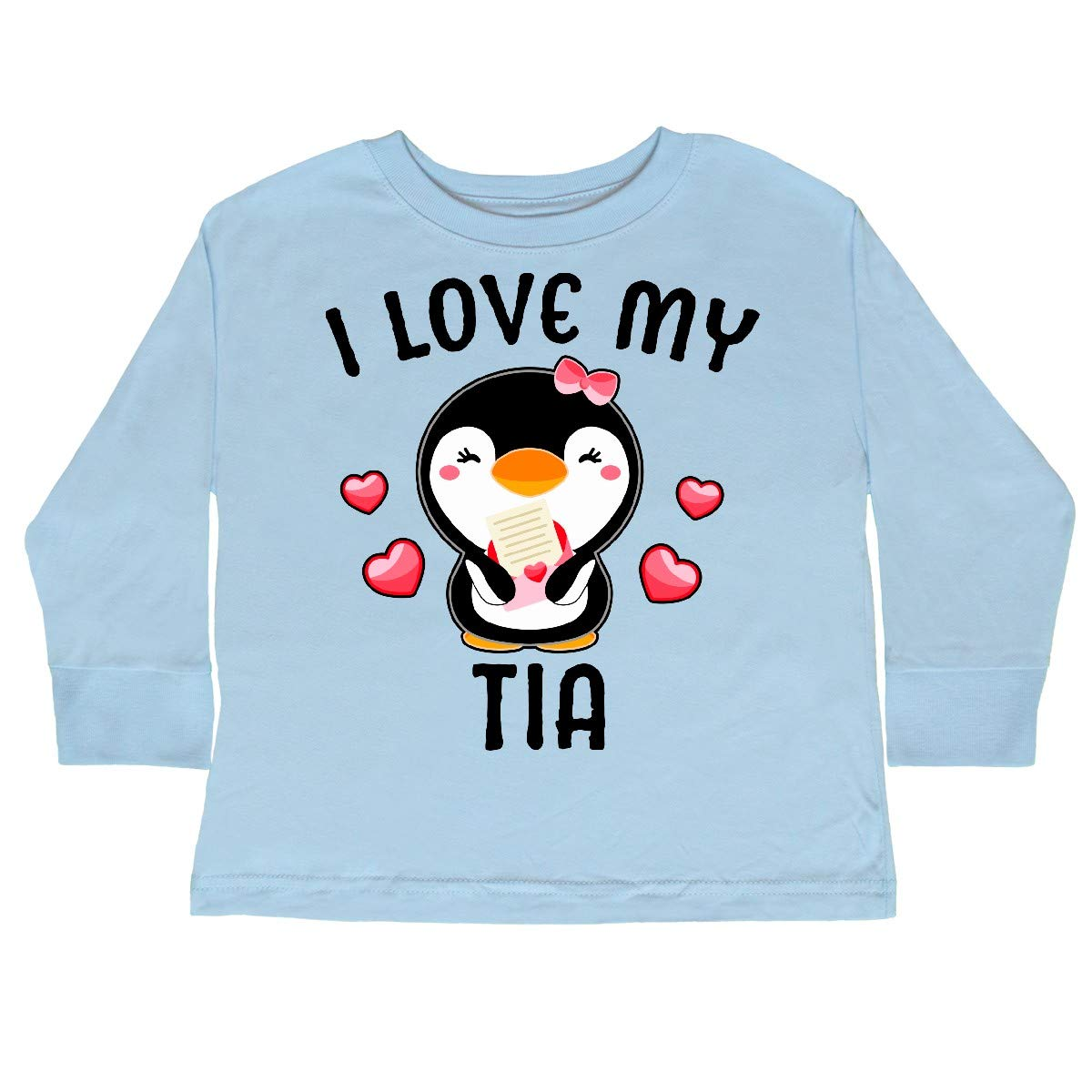 inktastic I Love My Tia with Cute Penguin and Hearts Toddler Long Sleeve T-Shirt