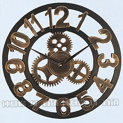 Y-Hui Reloj de pared romana té Gear-Bar Peluquería Decoración Dormitorio Arte reloj