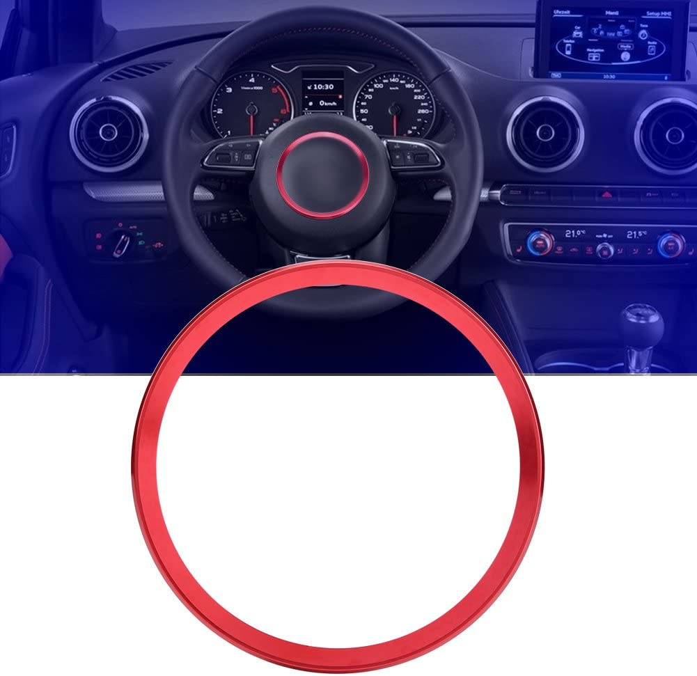 Keenso Auto Lenkrad Center Ring Lenkradabdeckung Trimmen Aluminium Chromlegierung Dekoration Rahmen Trim Rot Auto