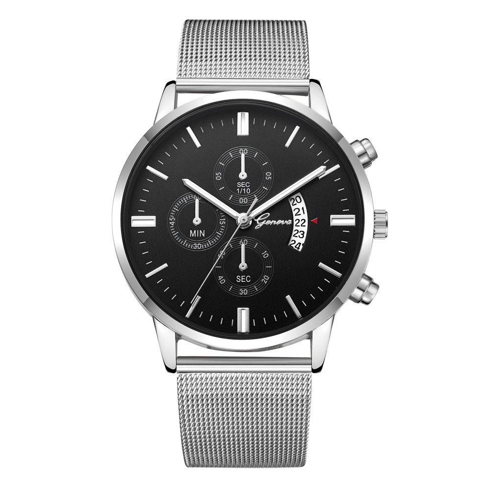 Triskye Mens Womens Analog Quartz Watches Business Casual Classic Luxury Stainless Steel Strap Band Round Wrist Watch Date Hours Ladies Wristwatch Bracelet for Girls