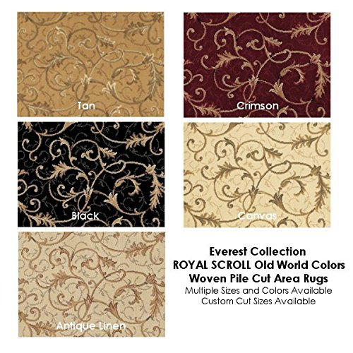Canvas Everest Collection ROYAL SCROLL Old World Colors Woven Pile Cut Area Rus and - Everest Royal Scroll