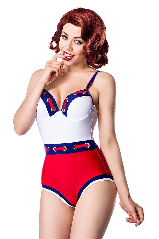 Marine Swimsuit, weiß/blau/rot