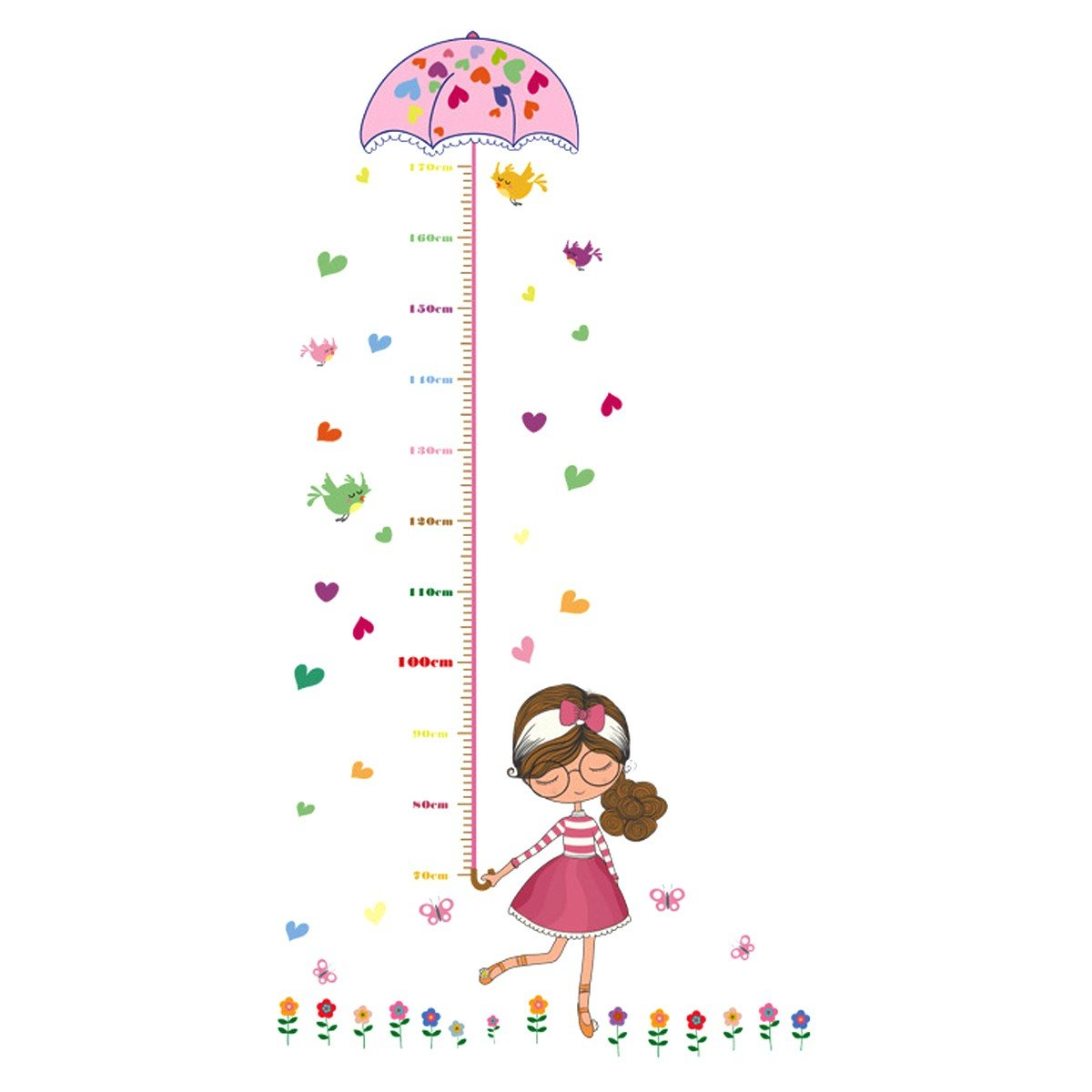 UNIQUEBELLA PVC Height Measurement Growth Chart for Kids Removable Nursery Wall Art Decals Stickers Cartoon Umbrella Wall Decorative for Girls Kid's Bedroom WUU53E