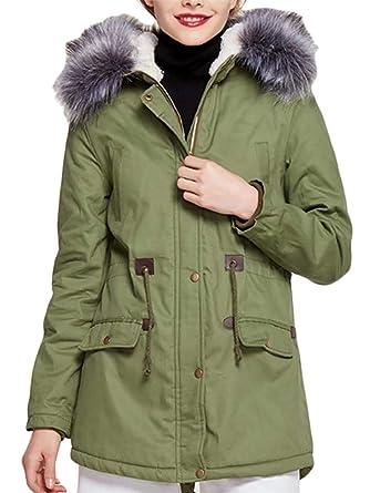 38b671383e2ab Pandapang Womens Anorak Zipper Plus Size Hooded Fleece Safari Faux Fur  Winter Parka Coat Army Green
