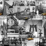 Muriva Big Apple New York City Wallpaper Black / Grey / Yellow
