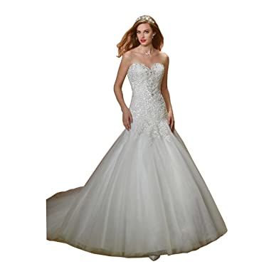 6ba7c5cb52c1 DingDingMail Mermaid/Trumpet Sweetheart Lace Up Chapel Wedding Dresses  Luxury Sexy Wedding Gowns For Bride